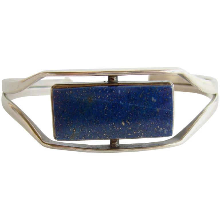 Jack Nutting Sterling Silver Lapis Lazuli Cuff Bracelet For Sale