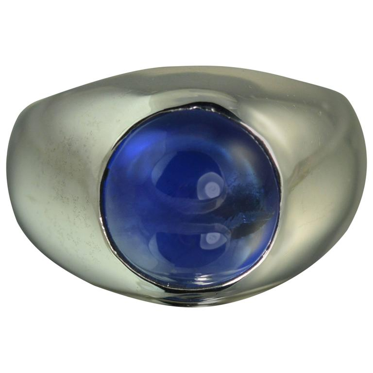 6.74 Carat No Heat Sapphire Gold Dome Ring For Sale