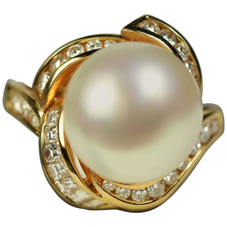 South Sea Pearl Diamond Gold Ring