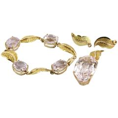 86 Carat GIA Cert Morganite Kunzite Gold Jewelry Set
