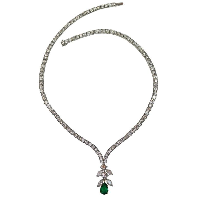 Emerald Diamond Platinum Necklace