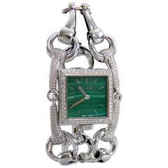 Gucci Ladies White Gold Diamond Malachite Signoria Wristwatch Ref YA116306