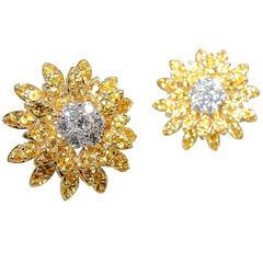 Yellow Sapphire Diamond Gold Platinum Sunflower Motif Earrings