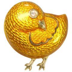 1950s Black Starr & Frost Enamel Gold Bird Brooch