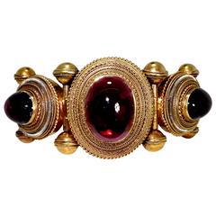 1880s Victorian Carbuncle Gold Bangle Bracelet