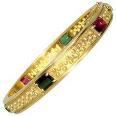 Multicolor Stone Gold Bangle Bracelet