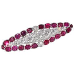 Edwardian Burma Ruby Diamond Platinum Brooch