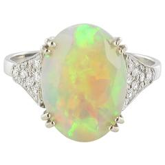 Faceted Opal Diamond Gold Ring