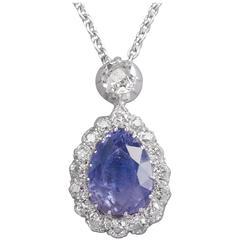 Sapphire Diamond Silver Gold Pendant