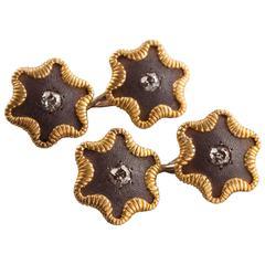 1880s Tiffany & Co. Diamond Steel Gold Cufflinks