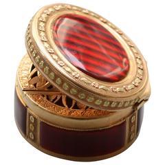 18th Century Red Enamel Gold Vinaigrette