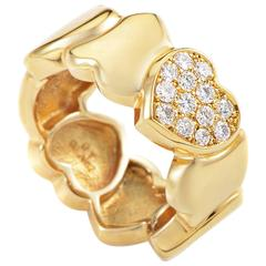 Fred of Paris Diamond Gold Heart Band Ring
