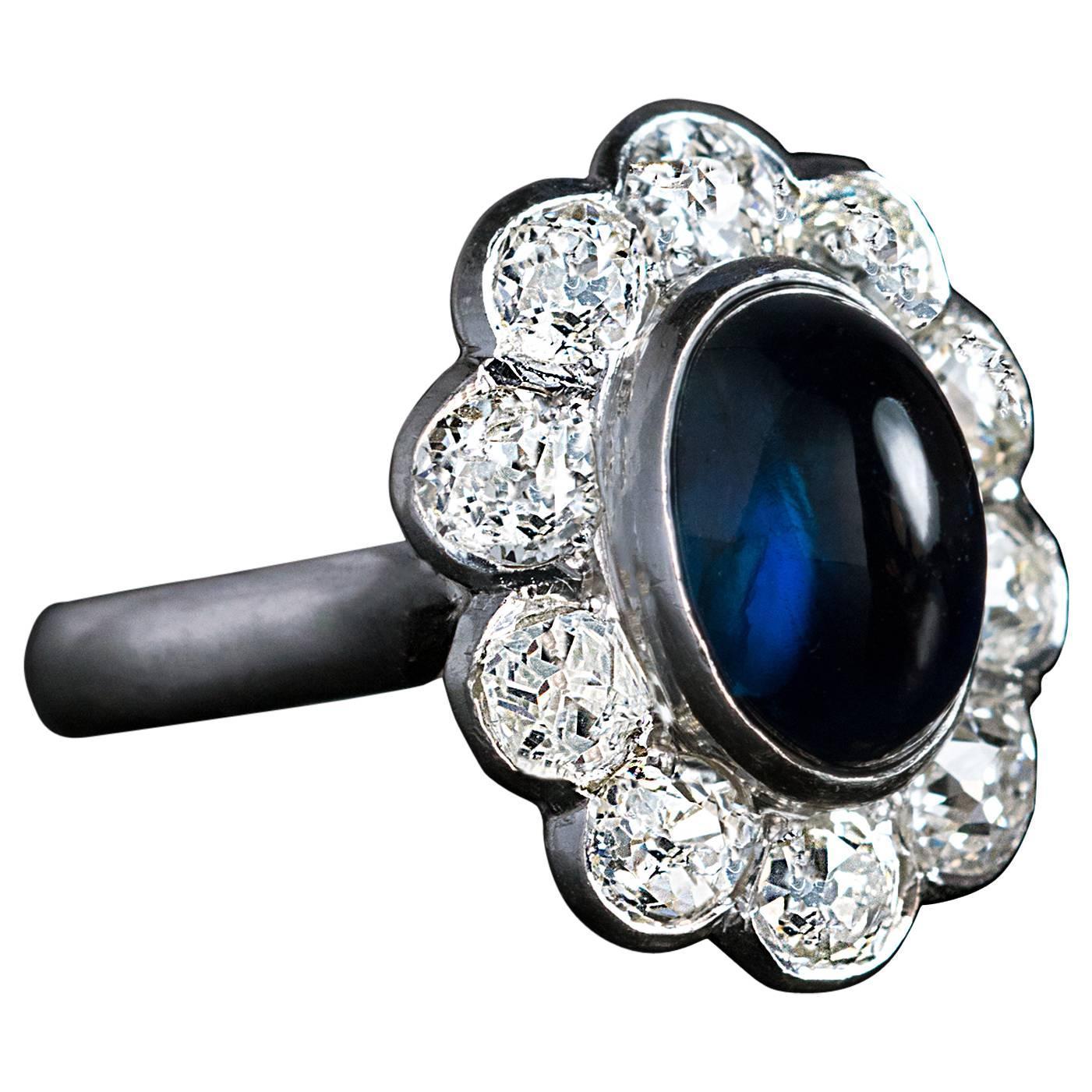 Gemstone Engagement Rings Chicago: Cabochon Sapphire Diamond Platinum Engagement Ring For