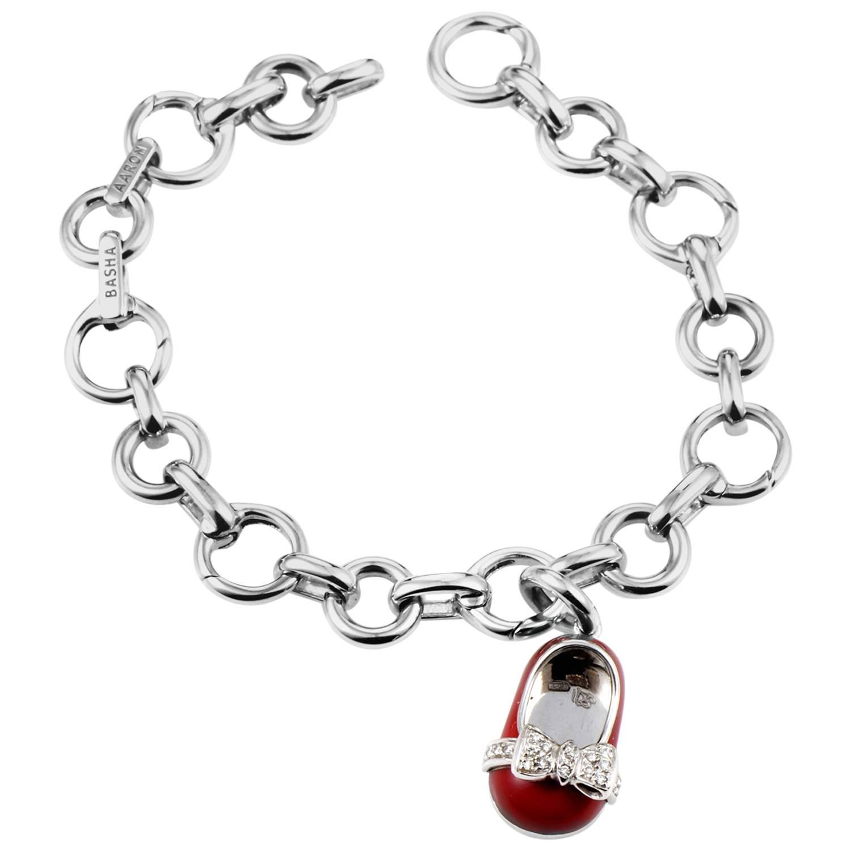 Aaron Basha Enamel Diamond Gold Baby Shoe Charm Bracelet
