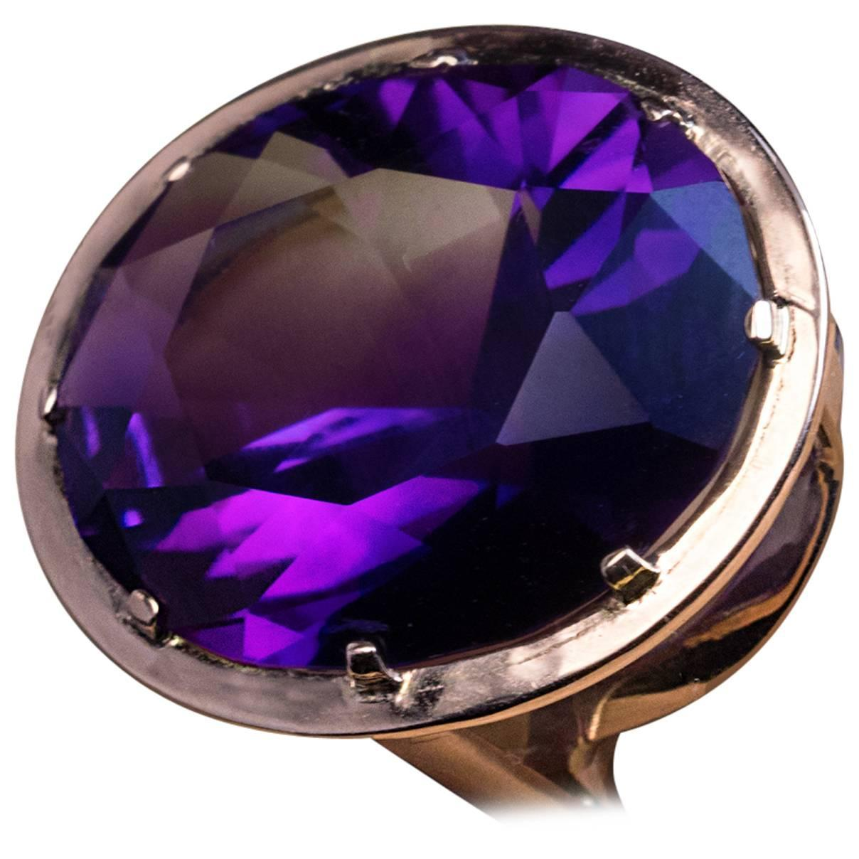 Siberia Platinum: 1960s Siberian Amethyst Gold Ring At 1stdibs