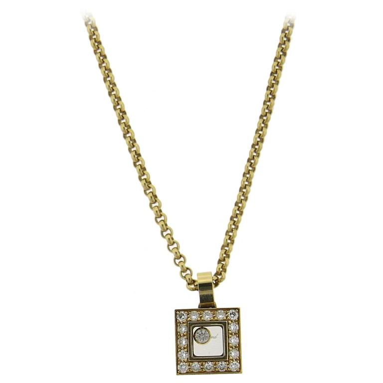 Chopard gold floating diamond square pendant necklace at 1stdibs chopard gold floating diamond square pendant necklace for sale aloadofball Choice Image