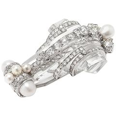 Art Deco Rock Crystal Pearl Diamond Platinum Brooch