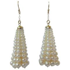 Multi-Strand Graduated Pearl Tassel Dangle Earring with Yellow Gold Cup