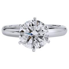 3.04 Carat Diamond Platinum Solitaire Engagement Ring.
