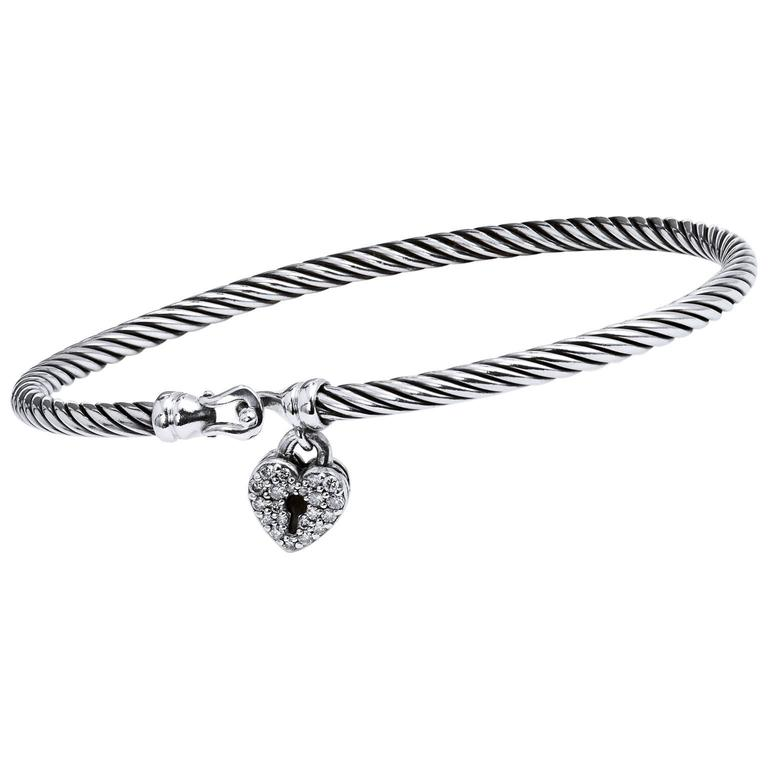 David Yurman Silver Bangle With Heart Locket Claps For