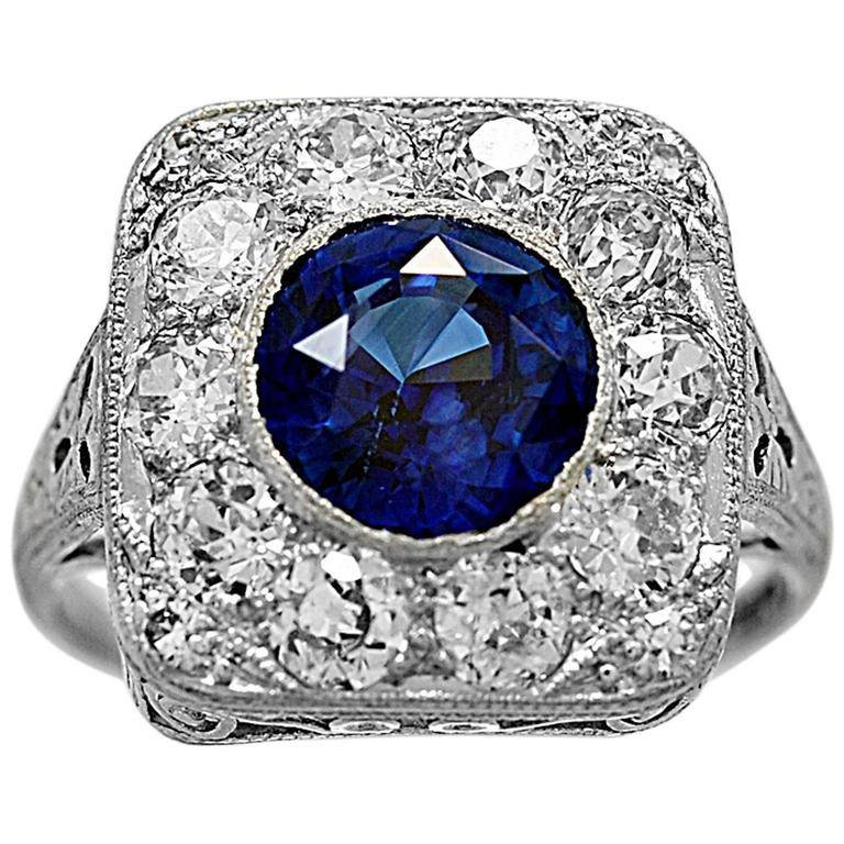 Antique 2.50 Carat Natural Sapphire Diamond Platinum Engagement Ring 1