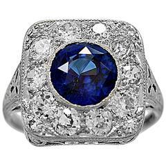 Antique 2.50 Carat Natural Sapphire Diamond Platinum Engagement Ring