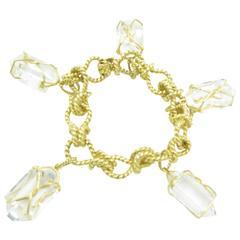 Verdura Rock Crystal Gold Herkimer Bracelet.