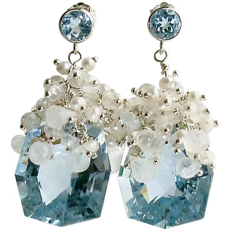Fancy Cut Blue Topaz Seed Pearl Moonstone Cluster Earrings - Diana IV Earrings For Sale