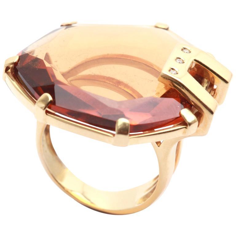 1970s Citrine Diamond Gold Ring