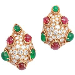Van Cleef & Arpels Emerald Ruby Diamond Gold Ear Clips