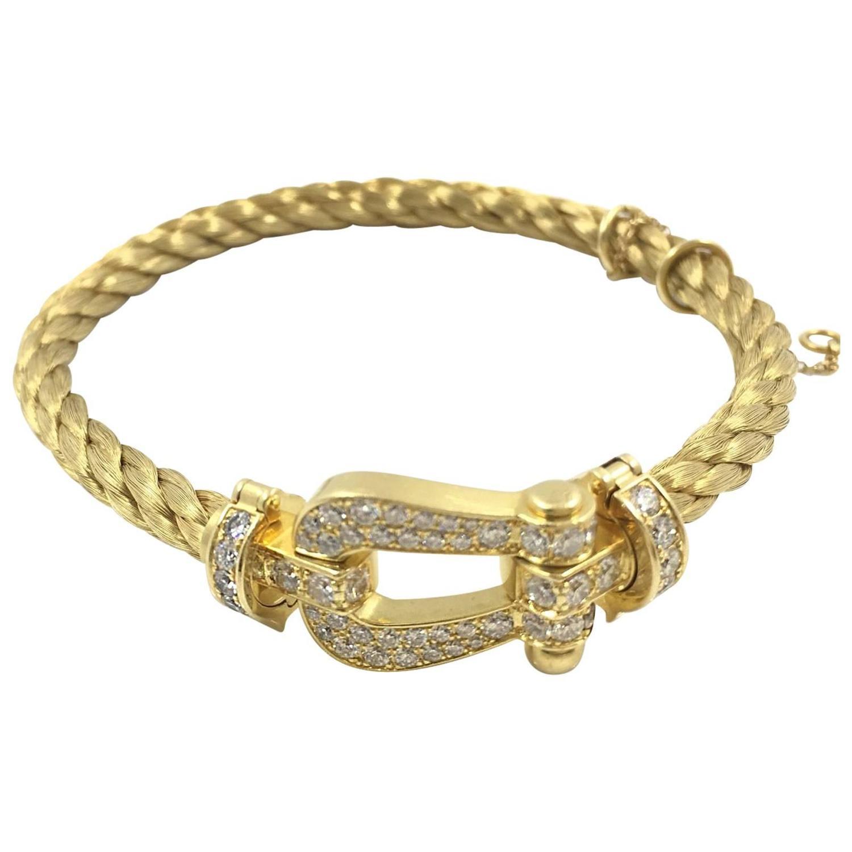 Fred Force10 Diamond Yellow Gold Stunning Bracelet At 1stdibs