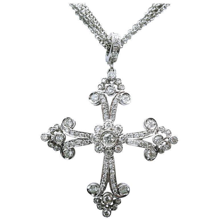 Lauren k large diamond gold maltese cross pendant enhancer necklace lauren k large diamond gold maltese cross pendant enhancer necklace for sale mozeypictures Image collections
