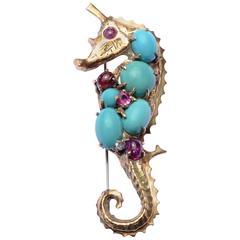 Seaman Schepps Jeweled Seahorse Brooch
