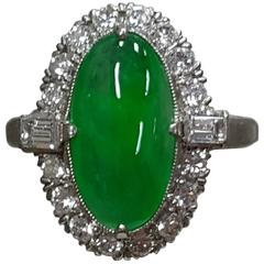 Oval Jade Diamond Platinum Ring