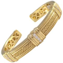 Judith Ripka Diamond Gold Bangle Bracelet