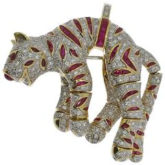 """Diamond and Rubies """"Panther"""" Brooch/Pendant"""
