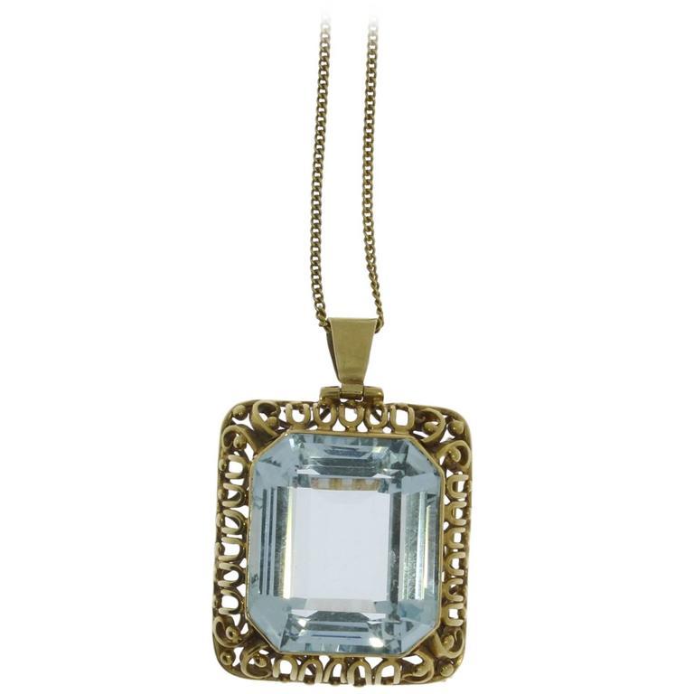 Large Aquamarine Gold Pendant Brooch For Sale