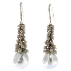 Jona Baroque Tahiti Pearl Ice Diamond 18 Karat White Gold Dangle Earrings