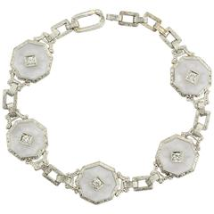 Antique Krementz Art Deco Camphor Diamond Gold Bracelet