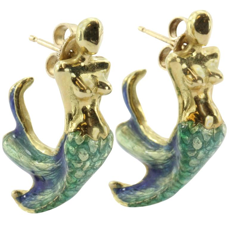 Custom Blue & Green Enamel Gold Figural Mermaid Earrings 1