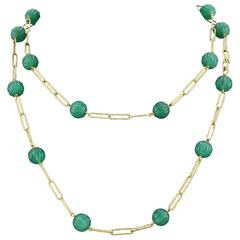 Mid Century Spanish Green Chalcedony Bead Gold Necklace