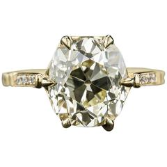 4.10 Carat Cushion-Cut Diamond Gold Ring