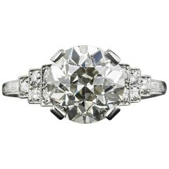 Art Deco 2.58 Carat GIA Cert Old European-Cut Diamond Platinum Ring