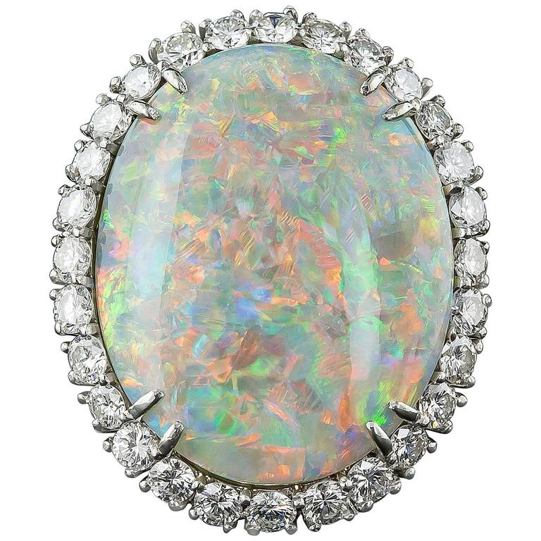 14.15 Carat Opal and Diamond Ring