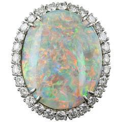 14.15 Carat Opal and Diamond Ring