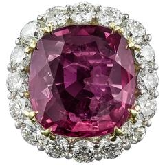 9.82 Carat Cushion-Cut Ruby and Diamond Ring