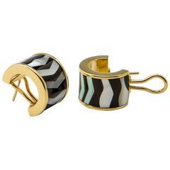 Tiffany & Co. Onyx Mother of Pearl Gold Hoop Earrings