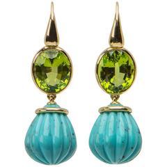 David Precious Gems Peridot Turquoise Gold Drop Earrings
