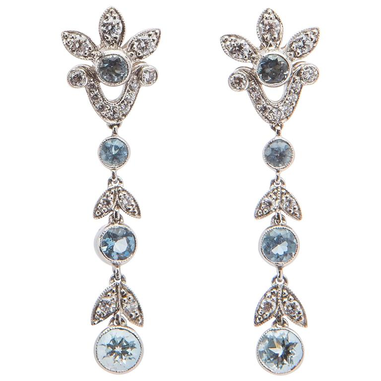 Aquamarine Diamond Platinum Drop Earrings For