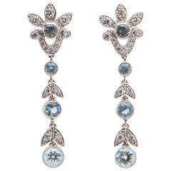 Tiffany & Co. Aquamarine Diamond Platinum Drop Earrings